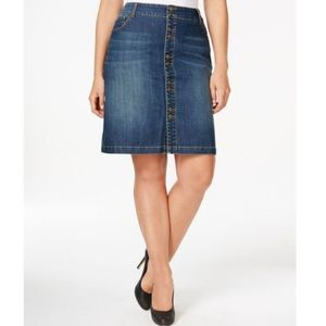 👗INC Button-front Denim Skirt Indigo Wash NWT 8